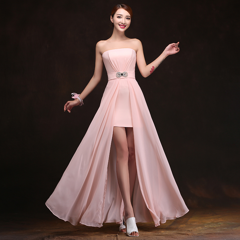 2016 cheap chiffon long plus size blush pink bridesmaid