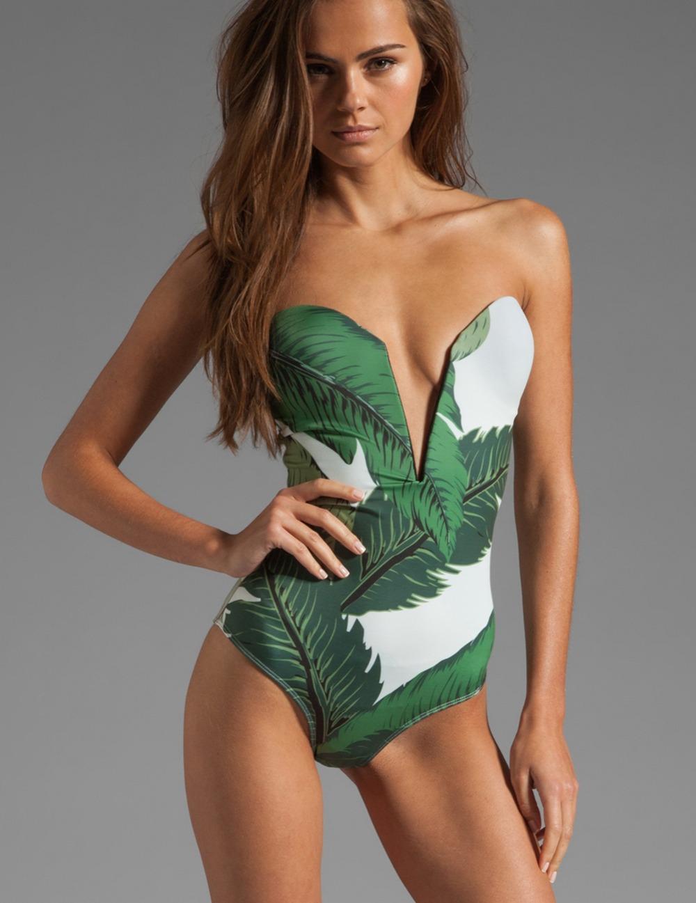 Flower Print One Piece Strapless Sexy Swimwear Green Brazilian Swimsuit Deep V Neck Bathing Suit 2016 Summer Fashion(China (Mainland))