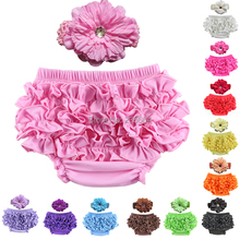 Baby Ruffle Bloomers Layers Baby Diaper Cover Newborn cotton Shorts with headband Toddler Cute Summer Pants Free Drop Ship(China (Mainland))