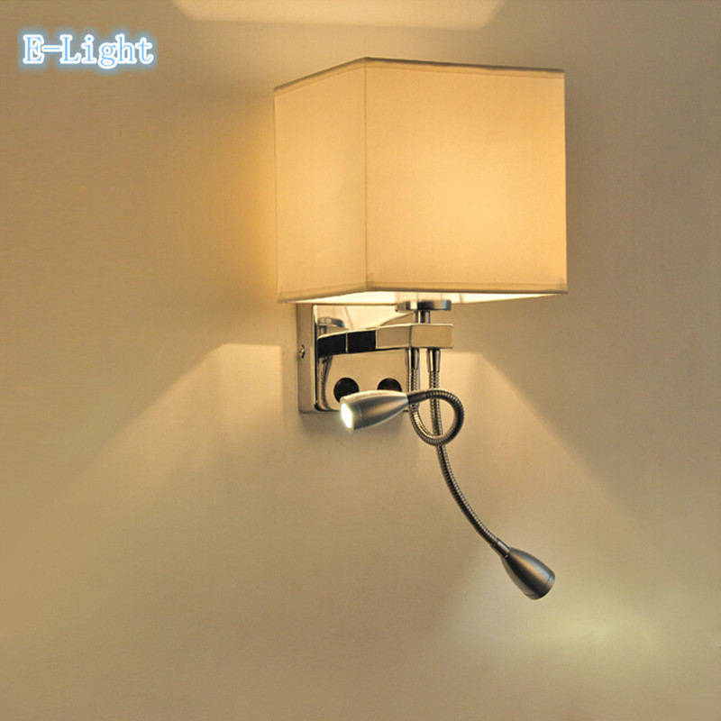 Modern brief mirror bedside wall lamps 1w led reading light lamp plumbing hose rocker arm ...