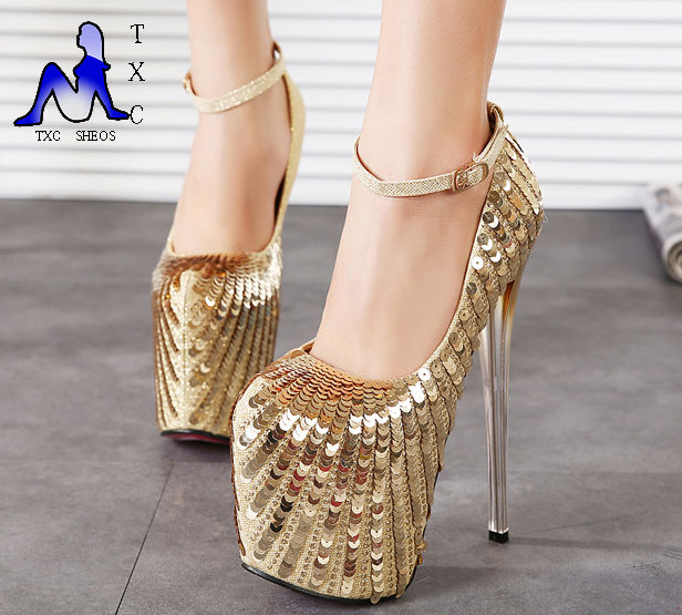 7 inch pumps Ankle Strap Closed Toe Platforms High Heels 19cm Platform Gold Glitter Wedding Shoes