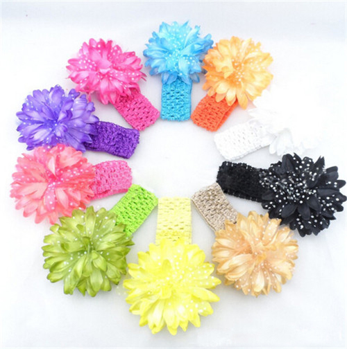 Free shipping children / baby girls hair accessories baby hair band daisy flower baby hair braid scarf 10Colors(China (Mainland))
