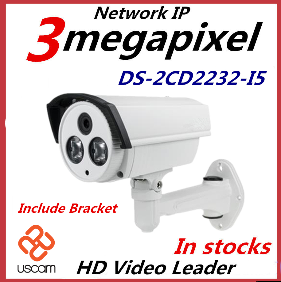 Гаджет  100% Original Hikvision DS-2CD2232-I5 1080P 3 Megapixel IR  bullet  network Camera POE IP camera 6mm None Безопасность и защита
