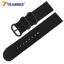 TEAROKE 6 цветов НАТО ремешок для часов нейлоновый ремень черное кольцо Пряжка 18 мм 20 мм 22 мм 24 мм полосатый сменный ремешок часы аксессуары(China)