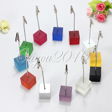High quality cube stand alligator wire card note picture memo photo clip holders,table wedding favor place 12 color to choose(China (Mainland))