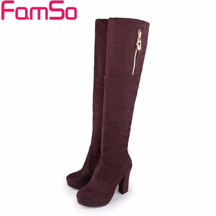 ซื้อ ขนาด34-43 2016ใหม่สไตล์R Etroบู๊ทส์สีน้ำตาลสีดำสีเทาสูงส้นแพลตฟอร์มรองเท้าหัวเข่ารองเท้าฤดูหนาวฝูงบู๊ทส์SBT4181