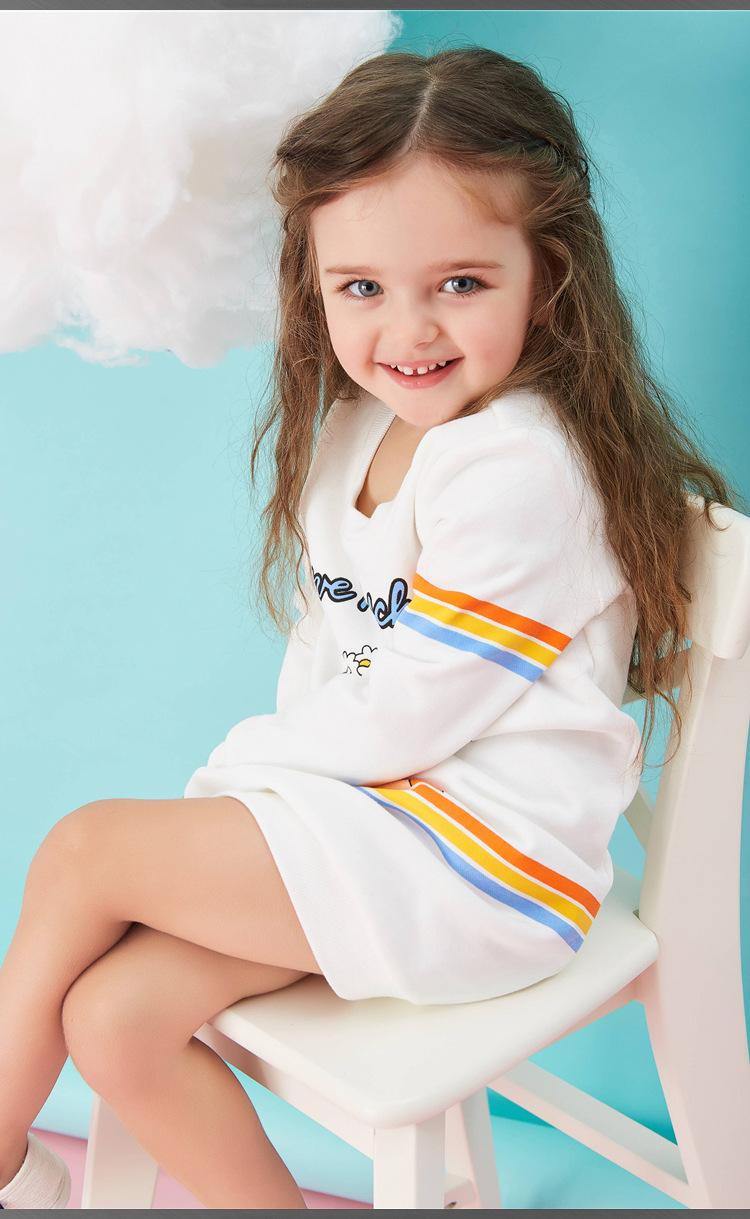 Скидки на Новые 2016 детские платья Девушки Красота печати С Длинными рукавами шею платье ребенок одежда