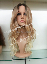Ombre Wig curly Fashion Wig long blonde with dark root TOP quality hair wigs  Free shipping(China (Mainland))