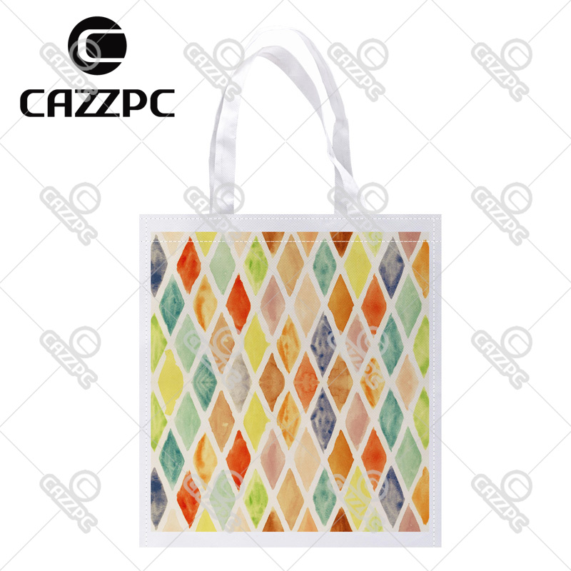 Colorful Watercolor rhombus Diamond geometric Print Custom Non-Woven Fabric Reausble Grocery Shipping Storage bag Pack of 4()