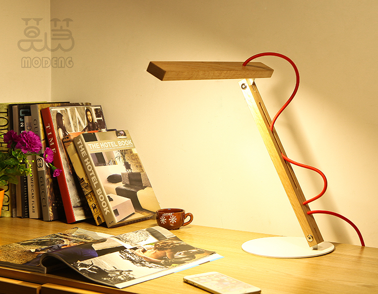 dhl free New Design Adjustable wood red desk lamp Rechargeable Touch dimmable LED Table light reading lamps for bed desk lamps(China (Mainland))