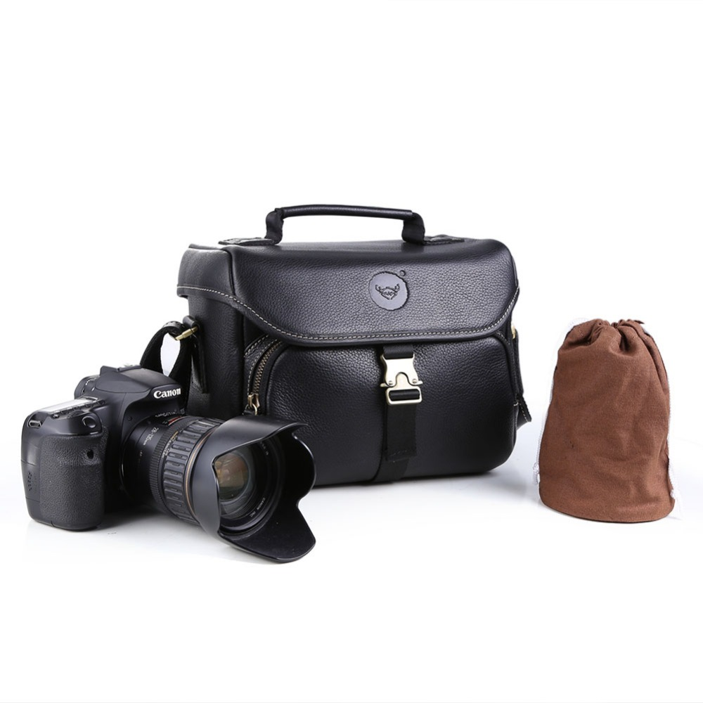 Brand design 100% genuine leather DSLR Camera bag Shoulder Messenger Bags Cover Pouch for Nikon D5500 D3200 D3100,for Canon 600D<br>