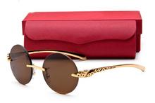 Известный картер марка простые очки без оправы круглый металлический деревянный буффало солнцезащитные очки в золотой с коричневой прозрачные линзы рамка lunettes