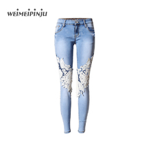 Summer Boyfriend Jeans For Women Hole Ripped White Lace Flowers Denim Pants Low Waist Mujer Vintage Skinny Stretch Jeans Female(China (Mainland))