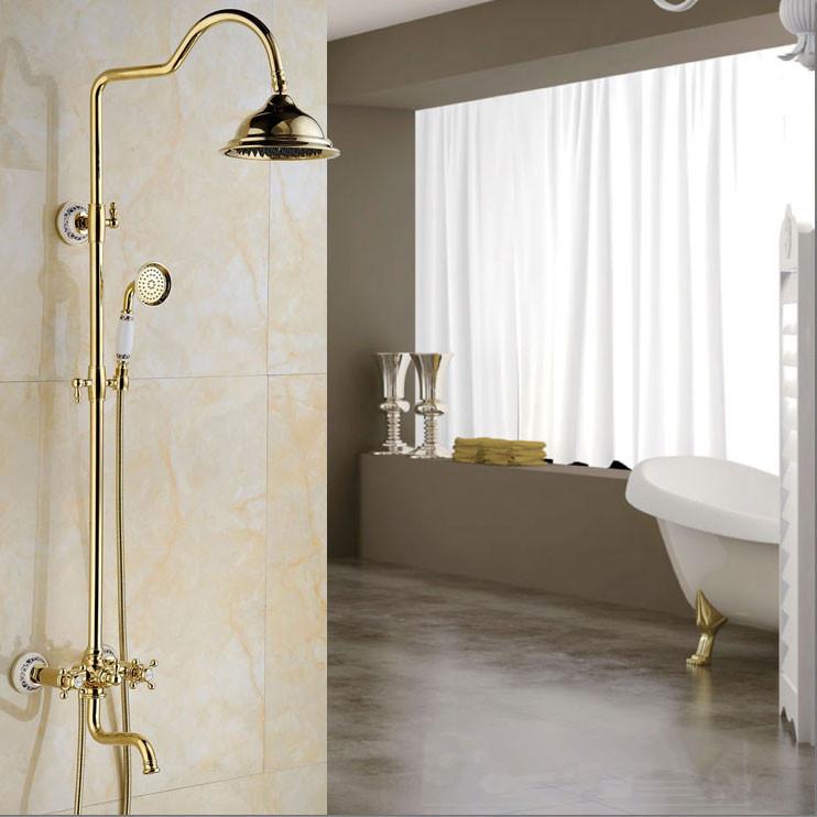 "Free shipping Fashion Wall Mounted Rainfall Shower Set Faucet Golden 8"" Rain Showerhead + Handheld Shower YLS5876A(China (Mainland))"