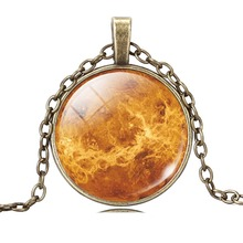 Vintage Glass Galaxy Cabochon Full Moon Necklace Antique Bronze Pendant Chain Necklace Jewelry For Fashion Women