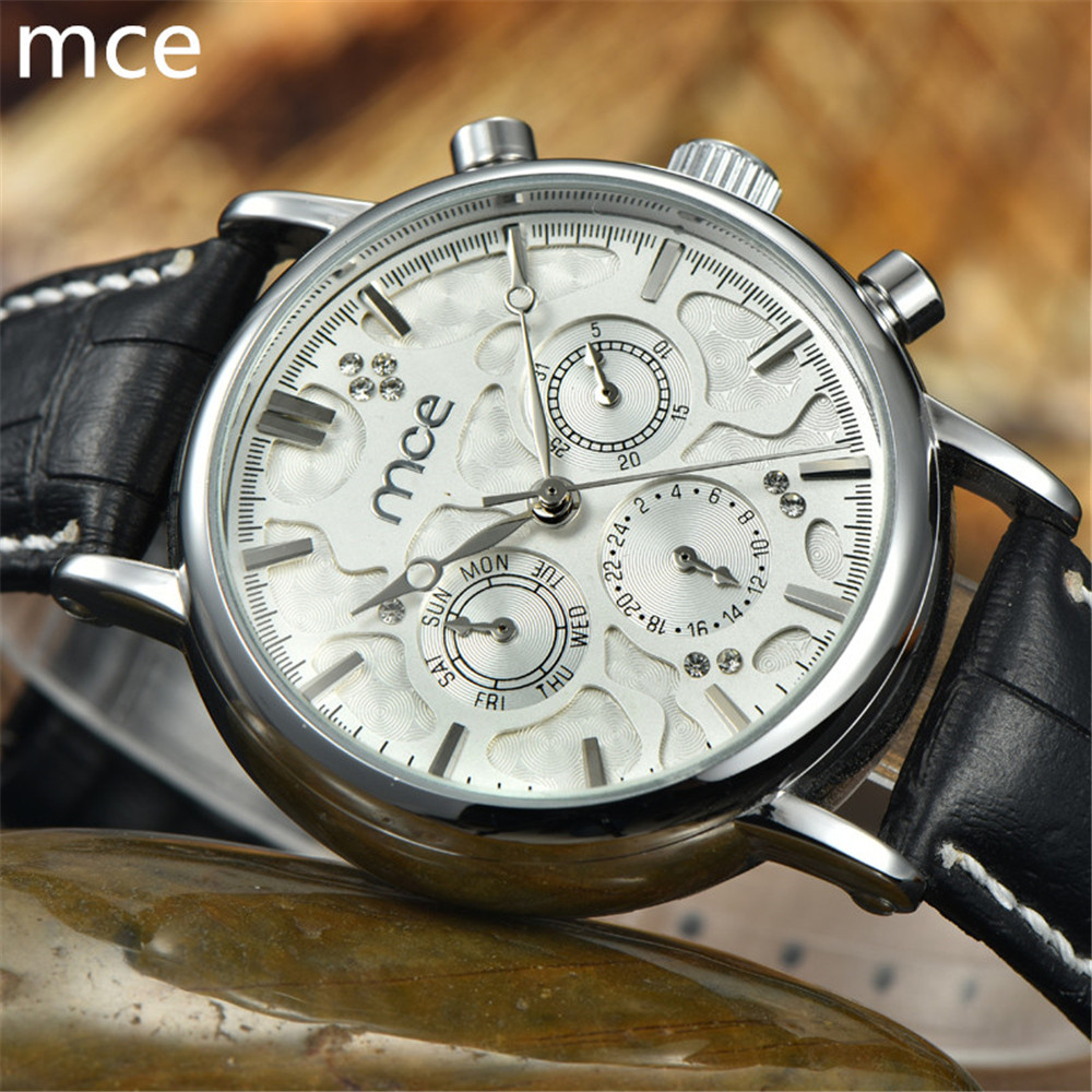 Hot 2016 MCE brand Luxury Men's 6 Hands Auto Mechanical Watches High quality Leather Wrist watches for men Free Shipping(China (Mainland))
