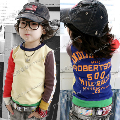 2012 autumn color block decoration star paragraph boys clothing girls clothing baby sweatshirt outerwear wt-0203
