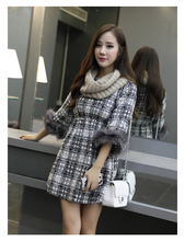 women dress winter dress Fall Winter Tartan material stitching raccoon fur cuff fashion Slim waist dress free shipping