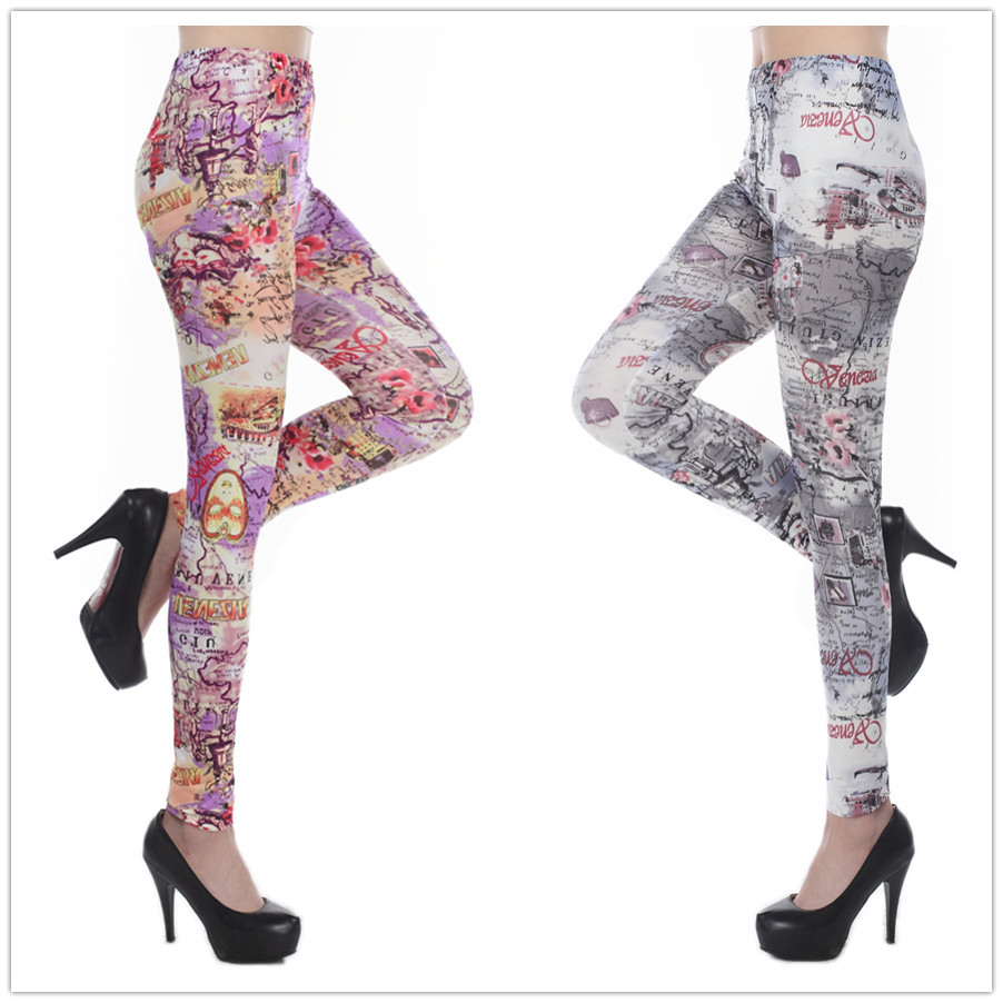 Map Print Leggings Tie Dye Printed Leggins Fitness Sports Legging Women Clothing(China (Mainland))
