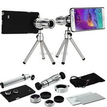 9 Piece Camera Photo Lente kit:12x Zoom Tripod Telephoto&Fisheye&Wide angle&Macro lens+Cover Case For Samsung Galaxy Note 5/4/3(China (Mainland))