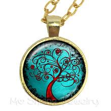 Tree of Life สร้อยคอผีเสื้อรูปแก้ว Cabochon สร้อยคอเครื่องประดับอุปกรณ์เสริมสำหรับผู้ชายผู้หญิงของขว...(China)