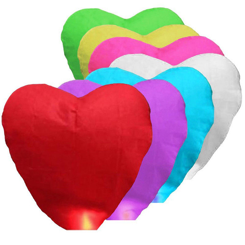Birthday Party Flying Wishing Lamp Hot Air Balloon Kongming Lantern Love Heart Sky Lantern Party Favors 1pc 7Colors(China (Mainland))