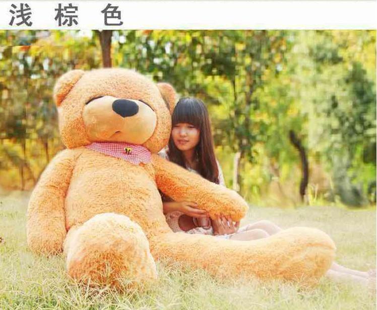 Stuffed animal 140cm light brown Teddy bear plush toy squint eye bear throw pillow doll gift w3322(China (Mainland))