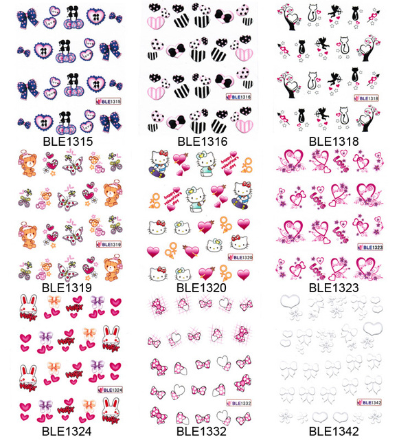 Hot-selling nail art watermark applique fashion finger sticker water transfer printing applique Cute Style Decals