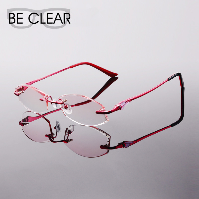 Women s Eyeglass Frames For Small Faces : Titanium Eyeglasses Women Rimless Prescription Reading ...