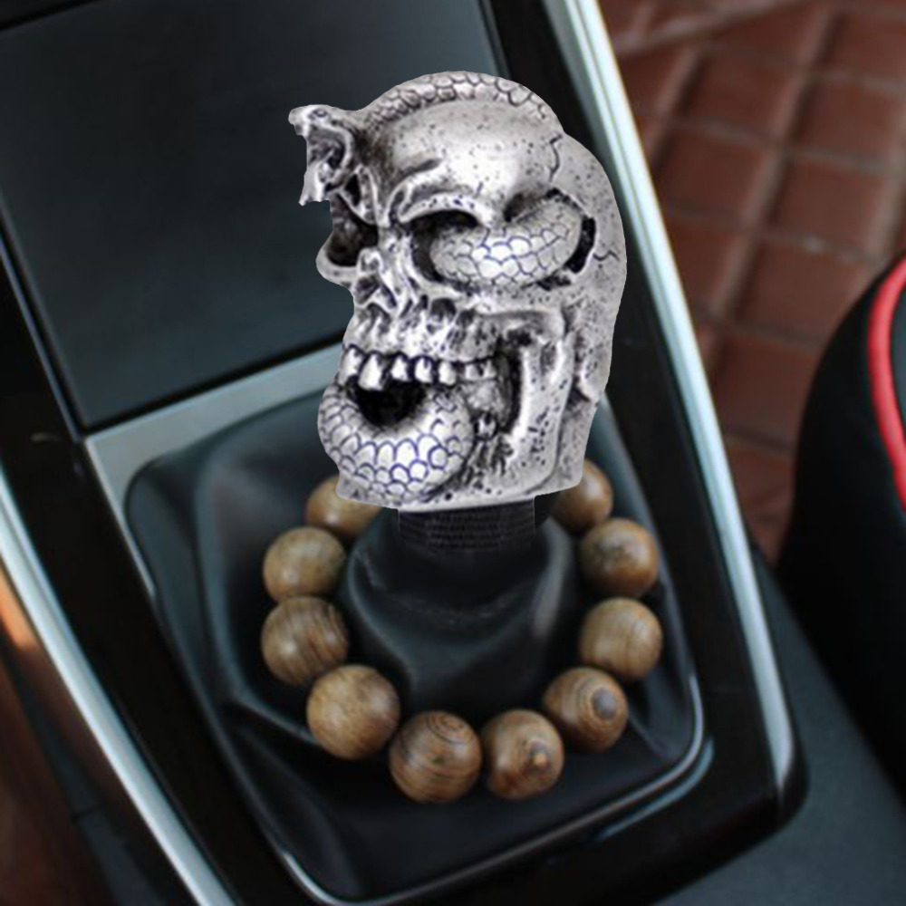 Universal Car interior Accessories Decoration Chrome Metal Alloy Skull Shape Car Gear Shift Knob Manual Shift Lever Knob(China (Mainland))