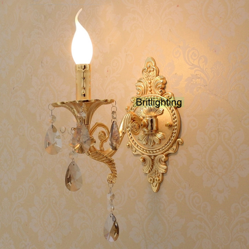 Bedside led wall lights vanity light luxury gold wall lamp for Gold bathroom wall lights