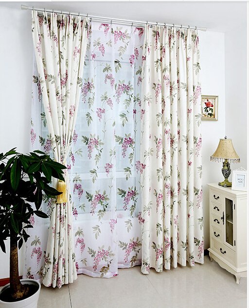 Wisteria wedding bedroom jacquard printing curtain custom Korean Rural plants flower curtain cloth(China (Mainland))