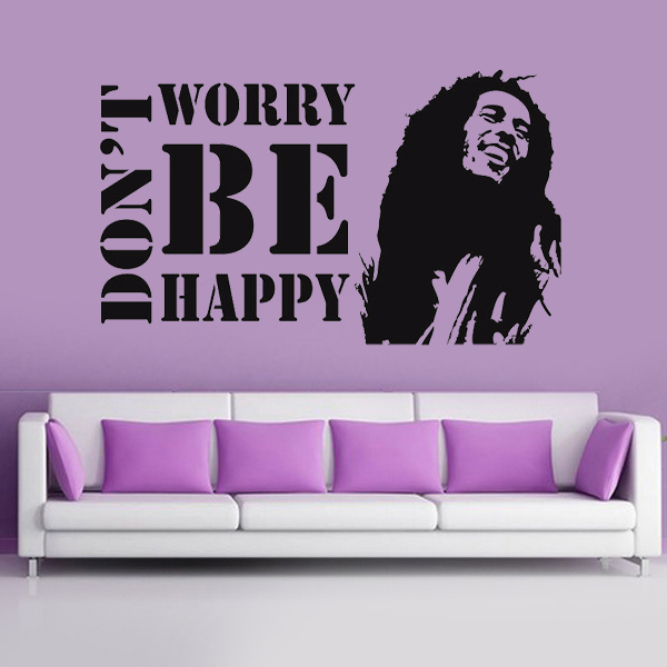 Don't Worry Be Happy Wall Stickers bob marley music Wall Say Quote Word Lettering Art Vinyl Decal Bedroom decoration Home Decor(China (Mainland))