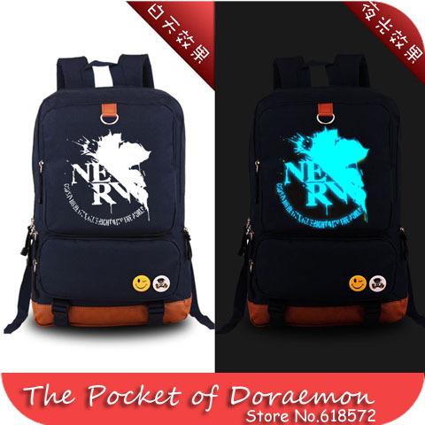 2015 Neon Genesis Evangelion EVA maple leaves Luminous printing school backpacks school bags for teenagers men women rucksack(China (Mainland))