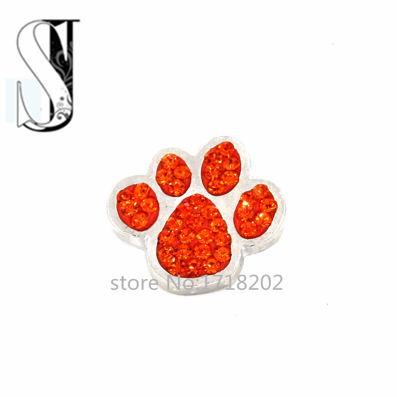 Snaps Snap Charm Orange Red Crystal Rhinestone Dog/ Cat Paw Print Ginger Chunky Button Charms Interchangeable Jewelry - Peijia store