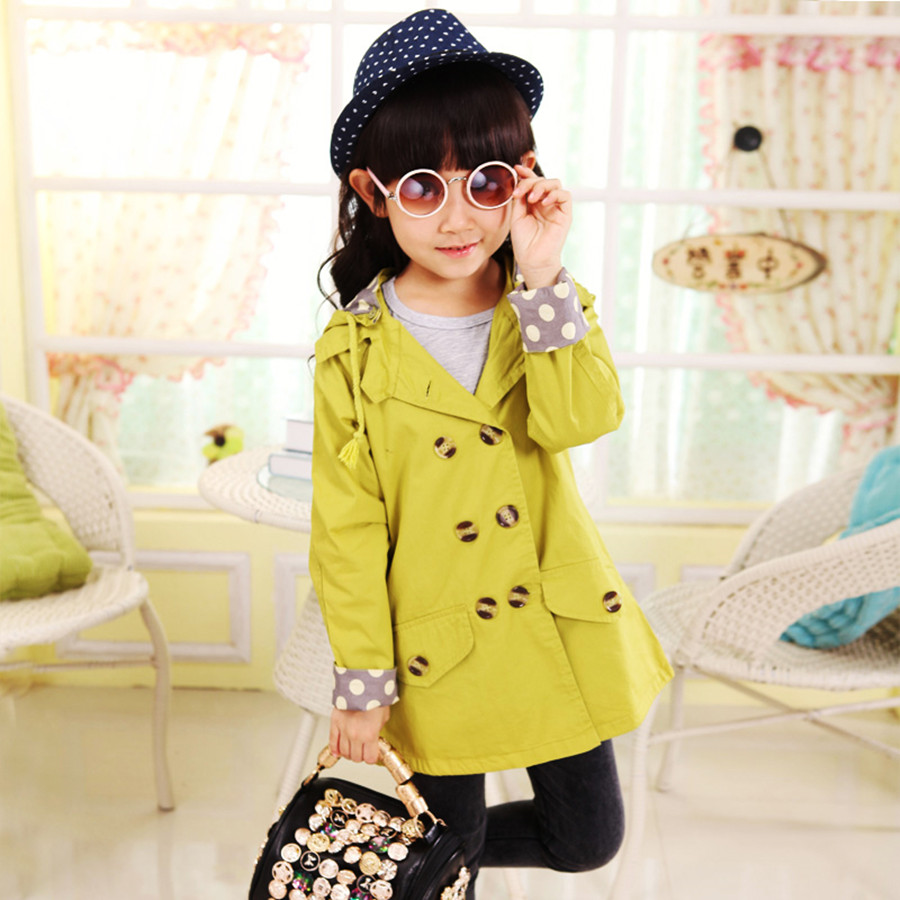 2016 Casual Hooded Full Sleeve Girls Spring Jacket  Polka Dots Long Windbreaker For Girls  Cotton kids Coat childrens Raincoat<br><br>Aliexpress