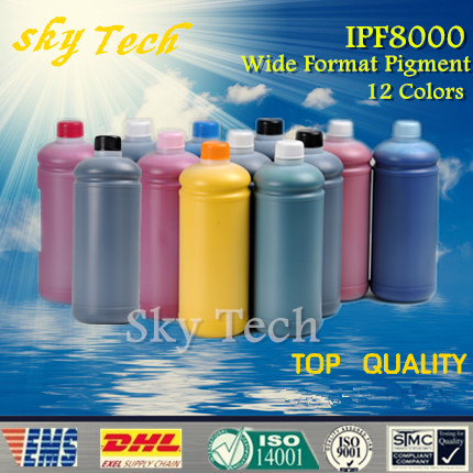 500ML*12pcs, High Quality Wide format Pigment Ink for Canon  IPF8000 , BK C M Y MBK PC PM GY PGY Red Blue Green<br><br>Aliexpress