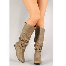 Karinluna Neue Plus Größe 34-51 Solide Plissee Slip Auf Dame Höhe Zunehmende Schuhe Frau Casual Party Winter Frühling mittlere Waden Stiefel(China)