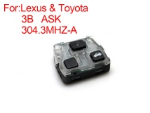FREE SHIPPING 5pcs/lot Remote Control Board For Lexus remote key 3 button ASK 304.3MHZ-A(China (Mainland))