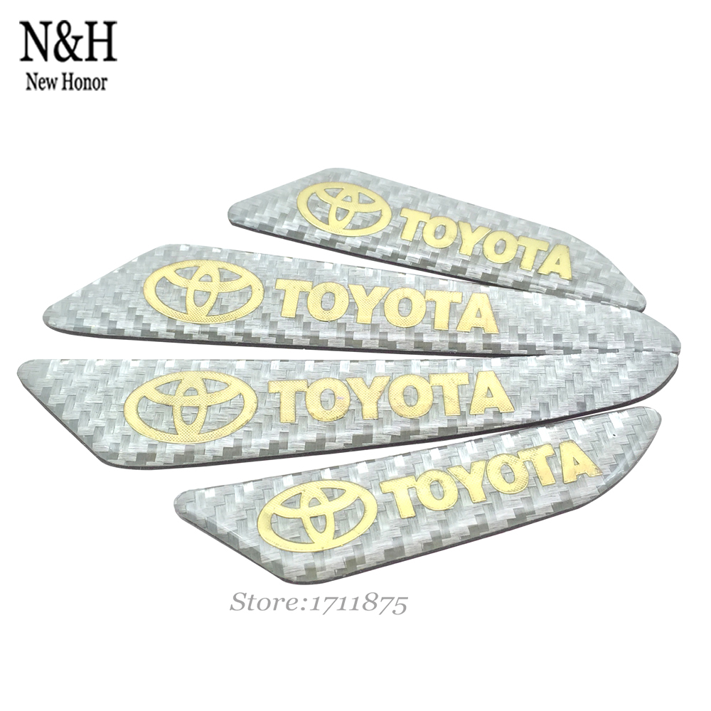 Car Door Protector Door Side Edge Protection Guards Stickers White 3D Styling For Toyota Auto Camry Corolla Real Carbon Fiber(China (Mainland))