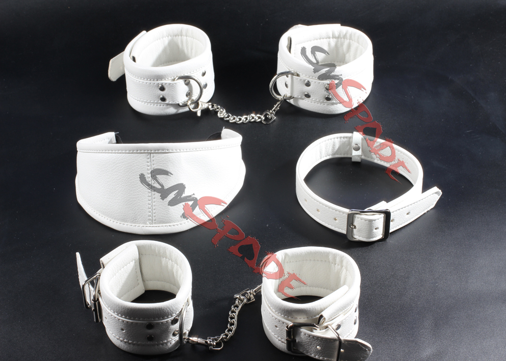Artificial leather sex kit adult game set for couples sex toys adult product: Handcuffs feet cuffs blindfold collar<br><br>Aliexpress
