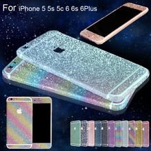 2016 New For iphone 6 6s Plus Bling 360 Degree Full Body Decal Skin Bling Glitter Phone Protective Sticker Wrap Phone Case(China (Mainland))