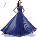 JY Real Picture 2016 New Cap Sleeve Chiffon Appliques Beaded Evening Dress With Sashes Long Evening
