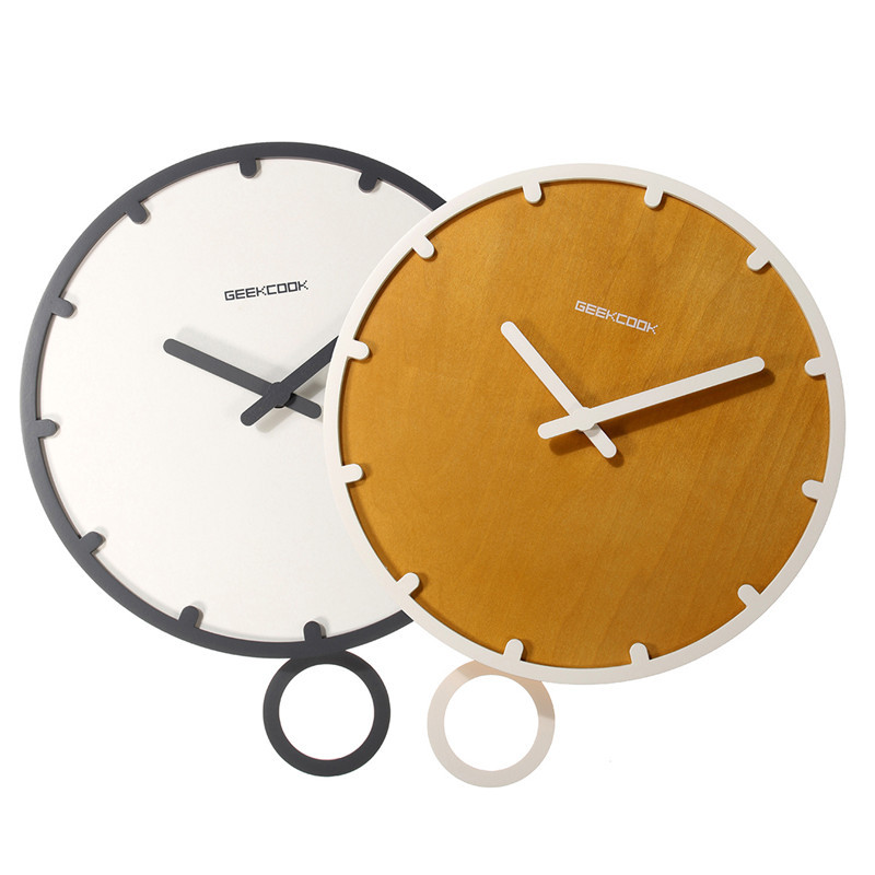 Charminer Contracted Circular Wooden Wall Clock On Wall Quartz Wall Clock In The Living Room Needle Display Home Design 2 Color(China (Mainland))