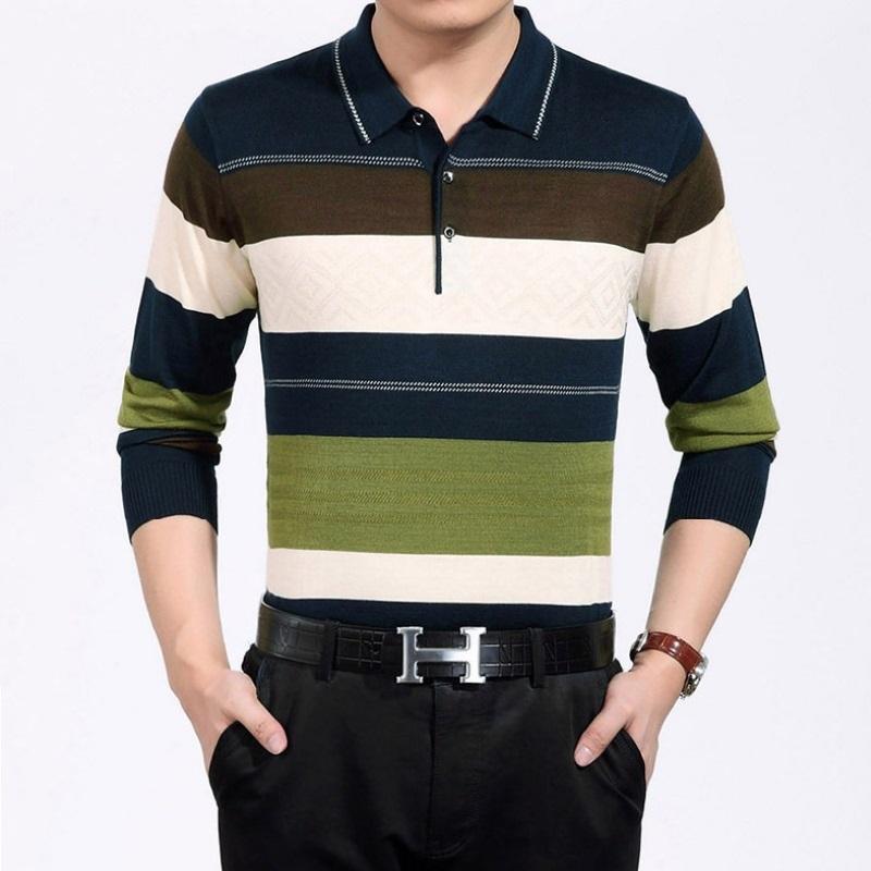 Mens Striped Long Sleeve Polo Ralp Mens Shirts Gentleman