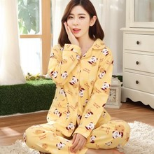 2016 Spring New arrival women cotton pyjamas long sleeve nightdress two-pieces big size v neck breathable pajamas set 19 colors