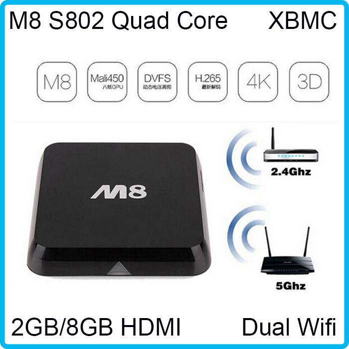 DDR3 2GB/8GB XBMC M8 andriod smart tv box kitkat 4.4 watch box tv stick amlogic S802 Dual Wifi 2.4/5.0Ghz satellite tv receiver(China (Mainland))