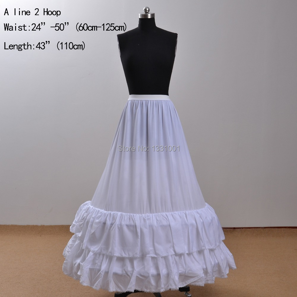 110 cm length a line petticoats for wedding dress 2 hoop for Tulle petticoat for wedding dress