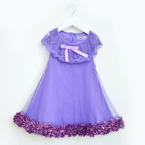 Здесь можно купить  2014 New,girls princess dress,children summer flower dress,lace,bow,pink/purple,2-11 yrs,5 pcs/lot,wholesale kids clothing,0943  Детские товары