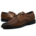 Big 37 46 Brand Genuine Leather Men Shoes Pointed Toe Lace up Business Casual Shoes Fashion